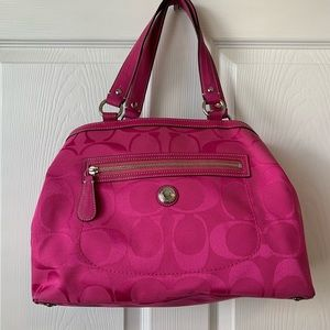 Coach Carryall Laura Pink Logo Large Purse